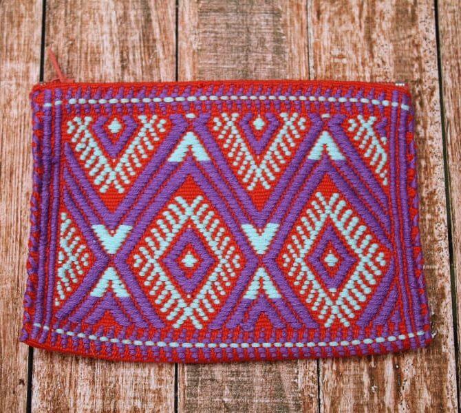 Monedero tejido en telar de cintura