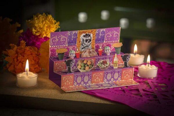 Tarjeta Postal Desplegable Ofrenda Altar Día de Muertos