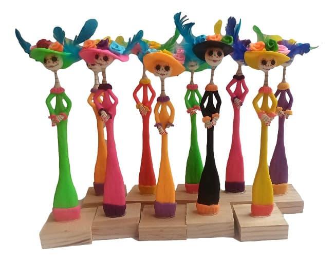 paquete de 10 GUAPAS catrinas mexicanas de 23 cm hechas a mano