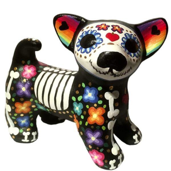Perros xolos catrinas de cerámica pintada a mano